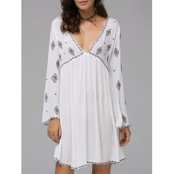 Fashionable Women's Plunging Neck Long Sleeve Embroidered Dress