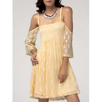 Sweet Women's Spaghetti Straps Cold Shoulder Lace Dress