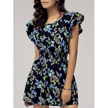 Stylish Women's Scoop Neck Cap Sleeve Butterfly Print Dress