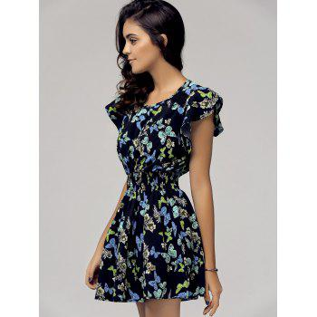 Stylish Women's Scoop Neck Cap Sleeve Butterfly Print Dress - BLACK L