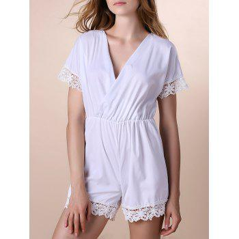 Alluring Plunging Neck Half Sleeve Women's Lace Spliced Romper