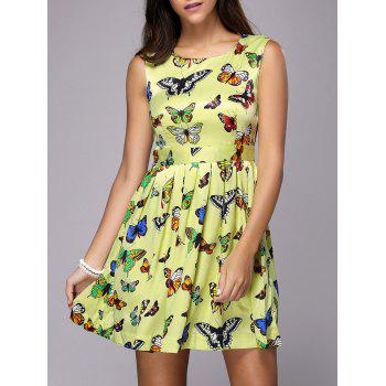 Stylish Butterfly Print Sleeveless Jewel Neck Dress For Women