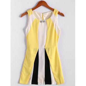 Refreshing Style Chiffon Color Block Scoop Neck Sleeveless Pleated Women's Dress (Without Belt) - YELLOW S