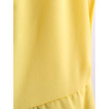 Refreshing Style Chiffon Color Block Scoop Neck Sleeveless Pleated Women's Dress (Without Belt) - YELLOW M
