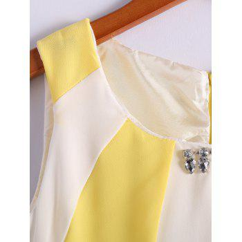 Refreshing Style Chiffon Color Block Scoop Neck Sleeveless Pleated Women's Dress (Without Belt) - L L