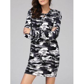 Trendy Camouflage Hooded Long Sleeve Dress For Women