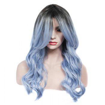 Vogue Rooted Glacier Blue Ombre Capless Fluffy Wave Long Women's Synthetic Wig