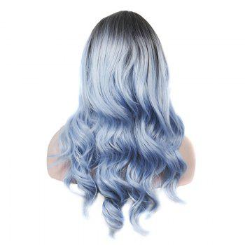 Vogue Rooted Glacier Blue Ombre Capless Fluffy Wave Long Women's Synthetic Wig - COLORMIX
