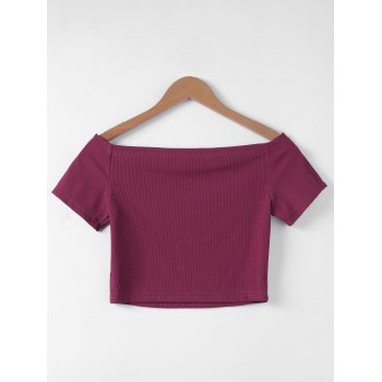 Flat Shouders Contracted Slim T-Shirt For Women - L L