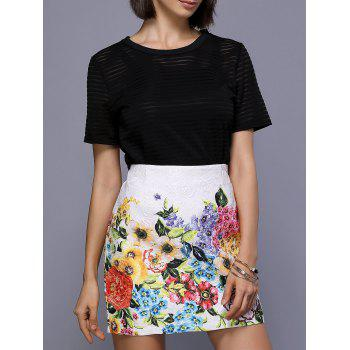 Stylish Women's Floral Print Straight Mini Skirt