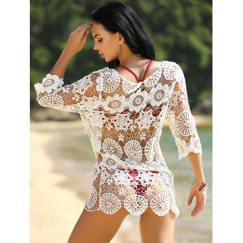 Crochet Hollow Out Knitted Swimsuit Cover-Up - WHITE ONE SIZE(FIT SIZE XS TO M)
