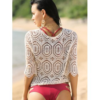 Crochet Hollow Out Cover-Up - WHITE ONE SIZE(FIT SIZE XS TO M)