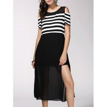 Trendy Short Sleeve Striped High Slit Hollow Out Dress For Women