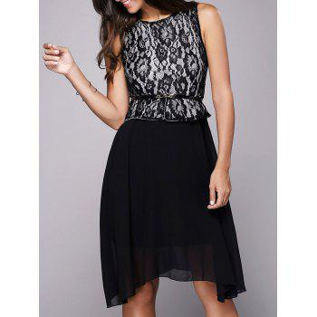 Lace Insert Belted A Line Dress