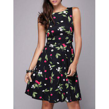 Mini Cherry Print Flare Dress