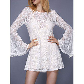 Stylish Women's Round Neck Bell Sleeve Lace Dress