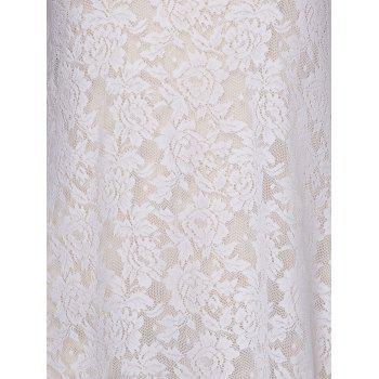 Stylish Women's Round Neck Bell Sleeve Lace Dress - WHITE M