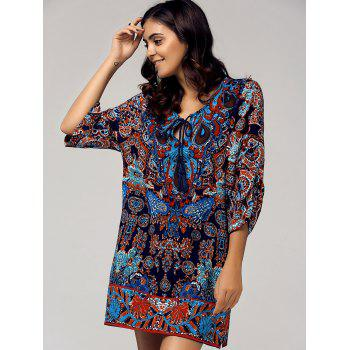 Retro Style Women's Scoop Neck 3/4 Sleeve Printed Dress - COLORMIX L