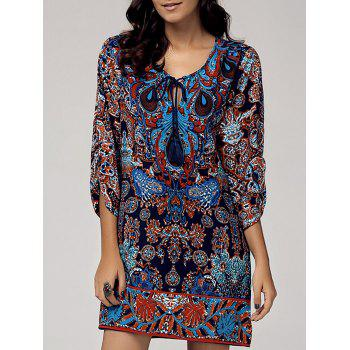 Retro Style Women's Scoop Neck 3/4 Sleeve Printed Dress