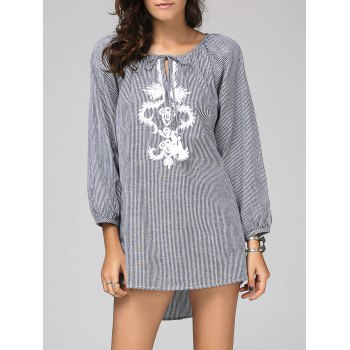 Chic Women's Scoop Neck Long Sleeve Striped Embroidered Blouse