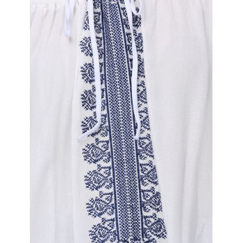 Ethnic Style Women's Off The Shoulder Long Sleeve Blouse - WHITE WHITE