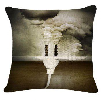 Creative Air Pollution Warning Pattern Square Shape Pillowcase (Without Pillow Inner)
