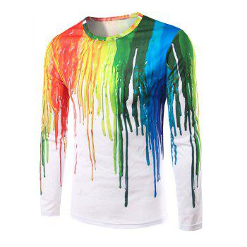 Long Sleeves 3D Colorful Splatter Paint T-Shirt