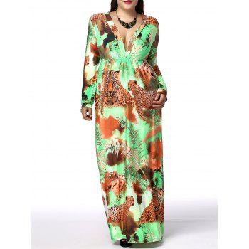 Bohemian Plus Size Long Sleeve Plunging Neck Leopard Print Women's Dress