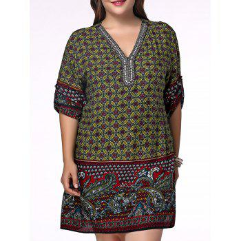 Ethnic Plus Size V Neck Rhinestoned Floral Print Women's Blouse