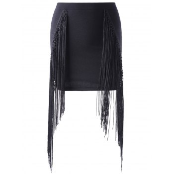 Stylish Tassels Black Short Skirt For Women