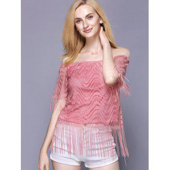 Off The Shoulder Tassel Embellished Women's Top - PINK PINK