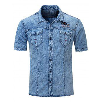 Men's Fashion Single Breasted Short Sleeves Denim Shirts