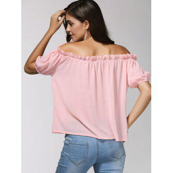Off-The-Shoulder Puff Sleeve Bowknot Charming Women's Blouse - LIGHT PINK LIGHT PINK