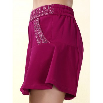 Ethnic Style Elastic Waist Loose-Fitting Embroidered Women's Shorts - PURPLISH RED L