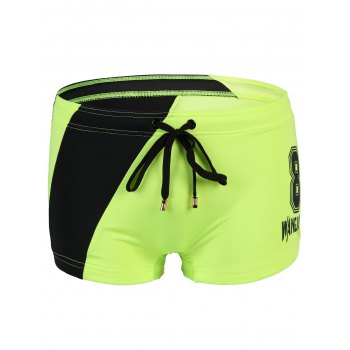 Men's Splicing Slim Fit Lace Up Number Printing Swimwear