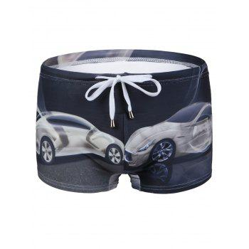 Slimming Car Printed Lace Up Men's Swimwear