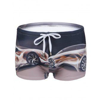 Slimming Car Printing Lace Up Men's Swimwear