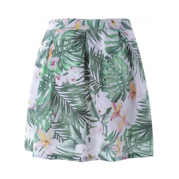 Stylish Floral Print A- Line Skirt  For Women - COLORMIX L