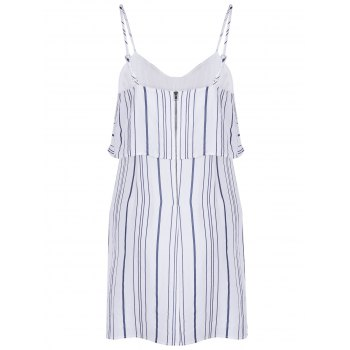 Polka Dot Chic Spaghetti Strap Flounce Stripe Spliced ​​femmes s 'Dress - Blanc M