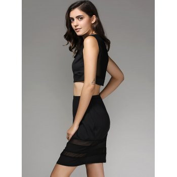 Mesh Spliced Crop Top and Skirt Twinset For Women - BLACK L