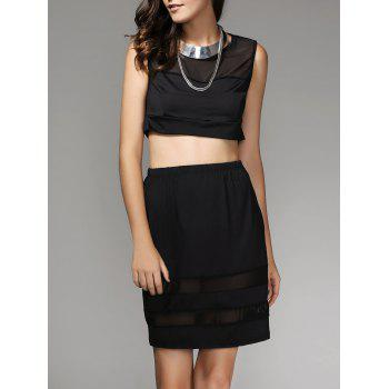 Mesh Spliced Crop Top and Skirt Twinset For Women