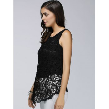 Guipure Lace Asymmetrical Women's Top - BLACK L