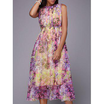 Women's Sweet Sleeveless Self Tie Hollow Out Floral Print Dress