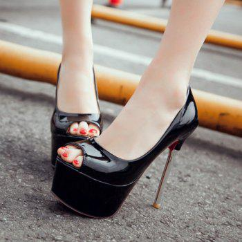 Stylish Patent Leather and Stiletto Heel Design Women's Peep Toe Shoes - BLACK 36