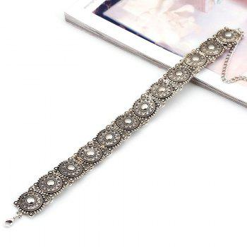 Vintage Style Engraved Floral Pattern Choker Necklace - SILVER