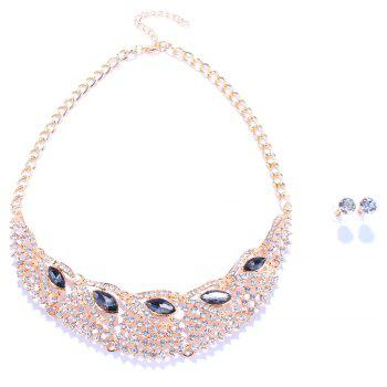 Statement Faux Gem Rhinestone Hollow Out Fake Collar Necklace and Earrings - BLACK BLACK