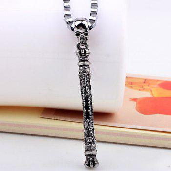 Punk Style Skull Sceptre Pendant Necklace - SILVER