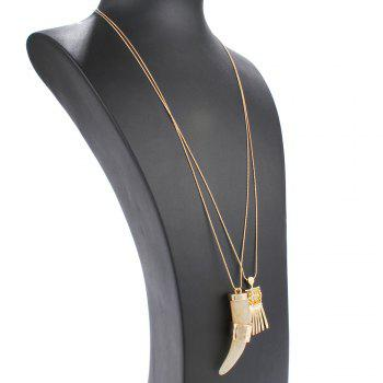 Double Layered Geometric Faux Ivory Alloy Tassel Necklace -  CHAMPAGNE