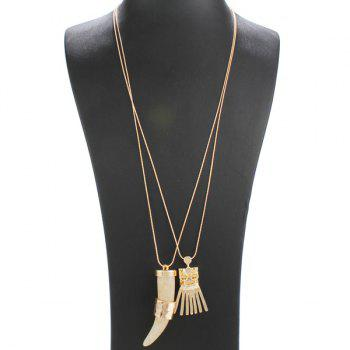Double Layered Geometric Faux Ivory Alloy Tassel Necklace - CHAMPAGNE CHAMPAGNE