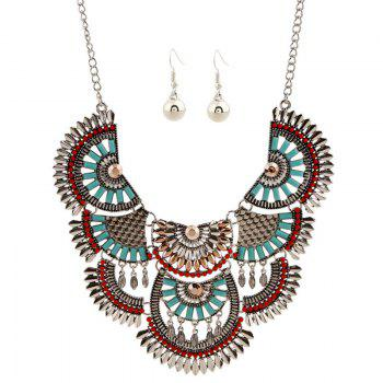 A Suit of Ethnic Hollow Out Faux Gem Beaded Necklace and Earrings - SILVER SILVER